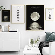 Peinture sur toile en noir et blanc, photo murale nordique, affiche imprimée avec Phases de Lune, décoration de maison