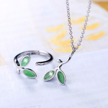 hot deal buy new small fresh green leaves jewelry sets with silver ring and necklace sterling bijoux fashion jewelry sets for women p282/r322