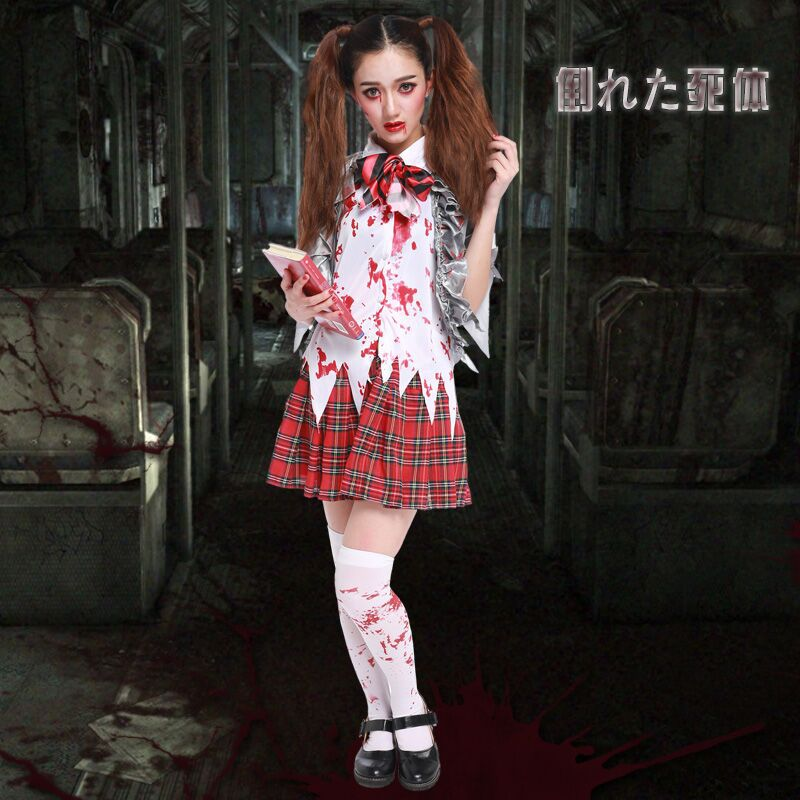 2017 New Movie Resident Evil Cosplay Party Vampire Student Suit Uniform  Full Set Horror Halloween Costume Zombie Clothing In Movie U0026 TV Costumes  From ...