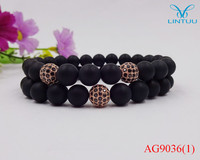 Promotion Jewelry Real Matte Black Onyx Rose Gold Plated Micro Pave Black Stone Ball Bracelets Christmas