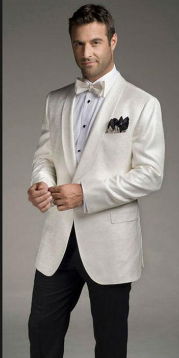 High Quality Ivory Mens Suits Groom Tuxedos Groomsmen Wedding Party Dinner Best Man Suits K:2718 jacket+pants+tie