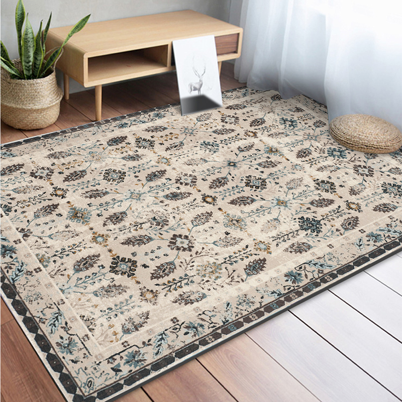 Home retro American Flower carpet living room table full bedroom bedside kids room rug kitchen study entrance mat anti skid soft in Carpet from Home Garden