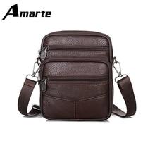 Men Shoulder Bags Retro Style Leather Male Messenger Bag Travel Business Office Leisure Crossbody Small Square Bag цены