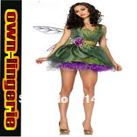 Sexy Woodland Green Fairy Tinkerbell Party Dress Outfit Cosplay Costume 4654
