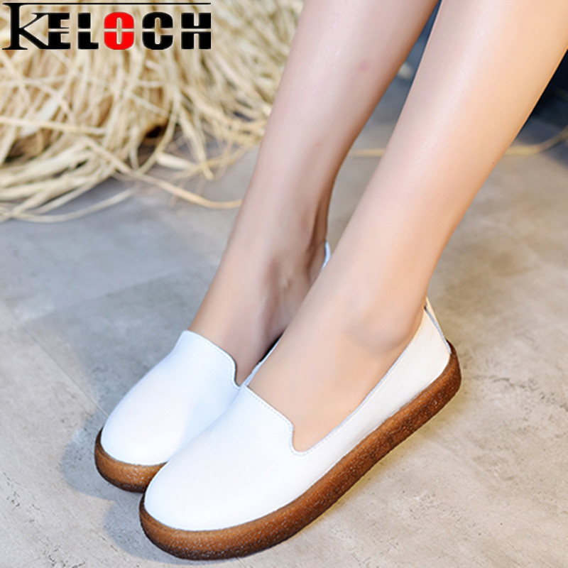 Keloch Women Flats Shoes 2018 New Women's Split Leather Casual Shoes Ladies Slip-on Loafers Soft Oxfords for Female White Flats men cow split leather shoes casual loafers soft and comfortable oxfords non slip flats luxury brand designer shoe zapatos hombre