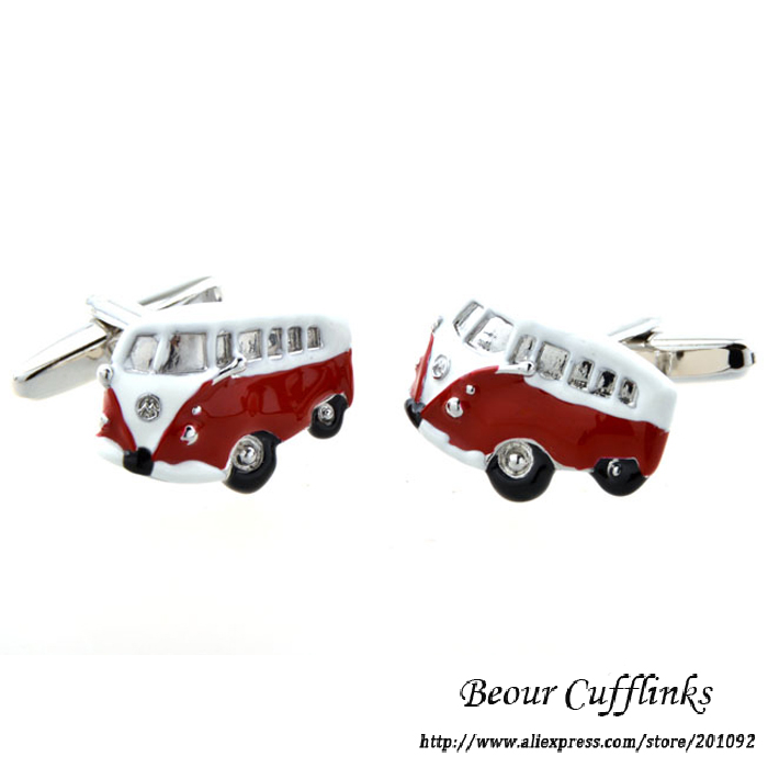 Hot Sale High Quality Mens Jewelry School Bus Modeling Red cufflinks for shirt cuff link brand