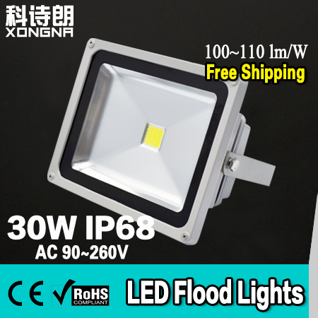 Free Shipping AC85~265V 30W LED Floodlights RGB LED Flood Lights IP68 Waterproof 100~110 lm/W CE & RoHS 2 Years Warranty 30% off 2pcs ultrathin led flood light 50w black ac85 265v waterproof ip66 floodlight spotlight outdoor lighting free shipping
