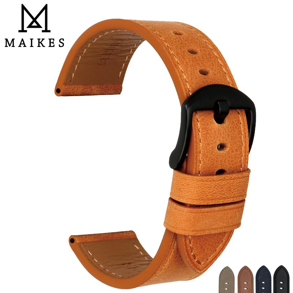 MAIKES Watch Accessories Watch Strap Genuine Leather 24mm 22mm Watch Band Soft Wrist Watch Orange Watchband For Omega Panerai maikes new design watchband watch accessories yellow or gold color watch band 12mm 22mm watch strap case for casio