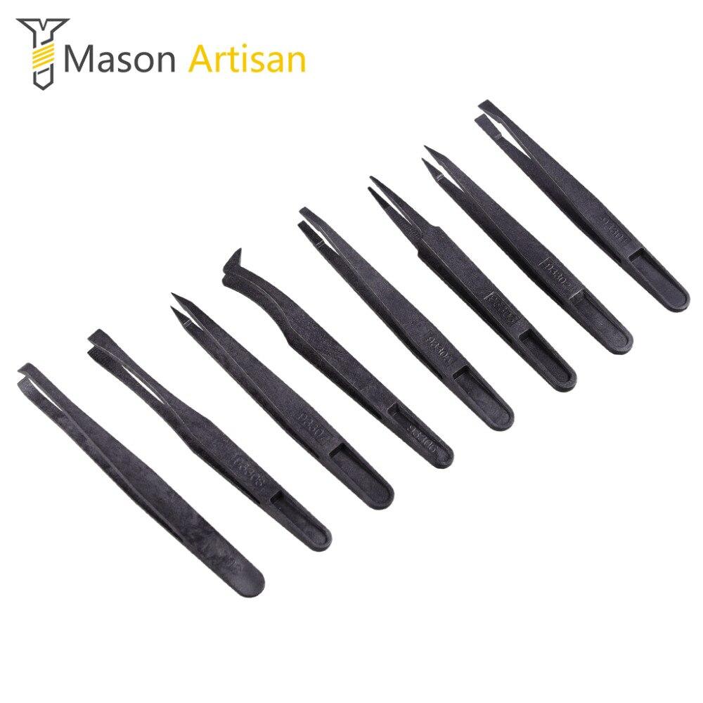 8Pcs Anti-static Plastic Tweezers Set Multifunctional Tweezers for Electronics Multi Tool Forceps Hand Tool Set