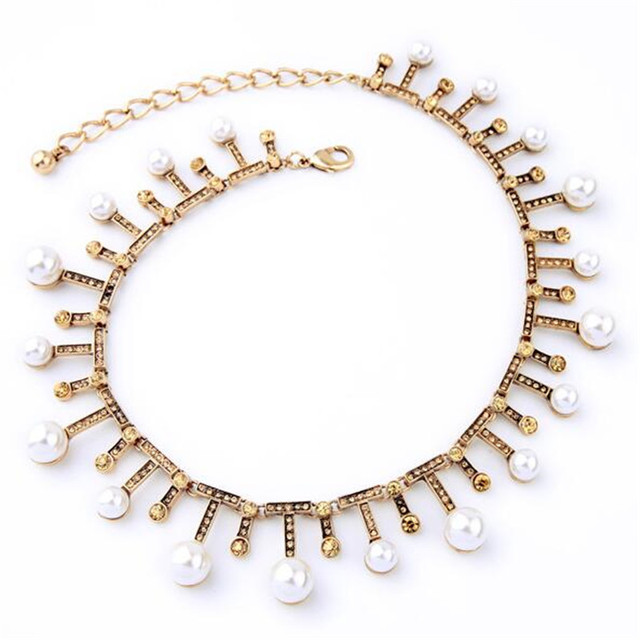 Fashion New Design Gold Color Chain Mosaic Yellow Rhinestone Pearl Chokers  Necklaces For Women Charm Jewelry Wholesale 9ac51407839f