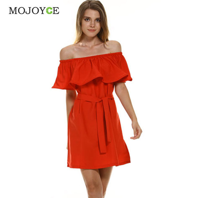 Fashion Brand Vestidos Summer Dress Women Off Shoulder Dress Sleeveless Ruffles Cross Straps Dresses Candy Color Party Dresses