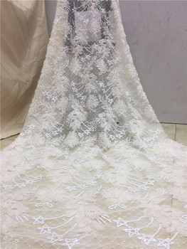 2019 Latest white French African Lace Fabric High Quality African Embroidered Tulle Lace Fabric For 2019 Wedding Dress