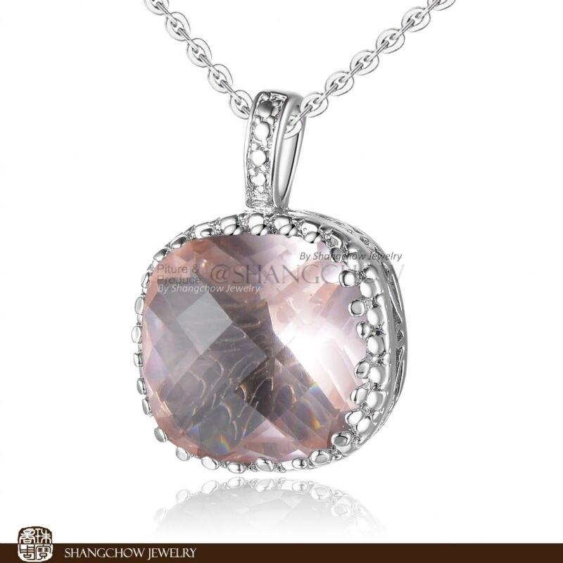 04c8fc24cc78f Bijoux De Mode superbe Morganite Quartz 925 Sterling Argent Rempli Blanc Or  Lady Pendentif P0207