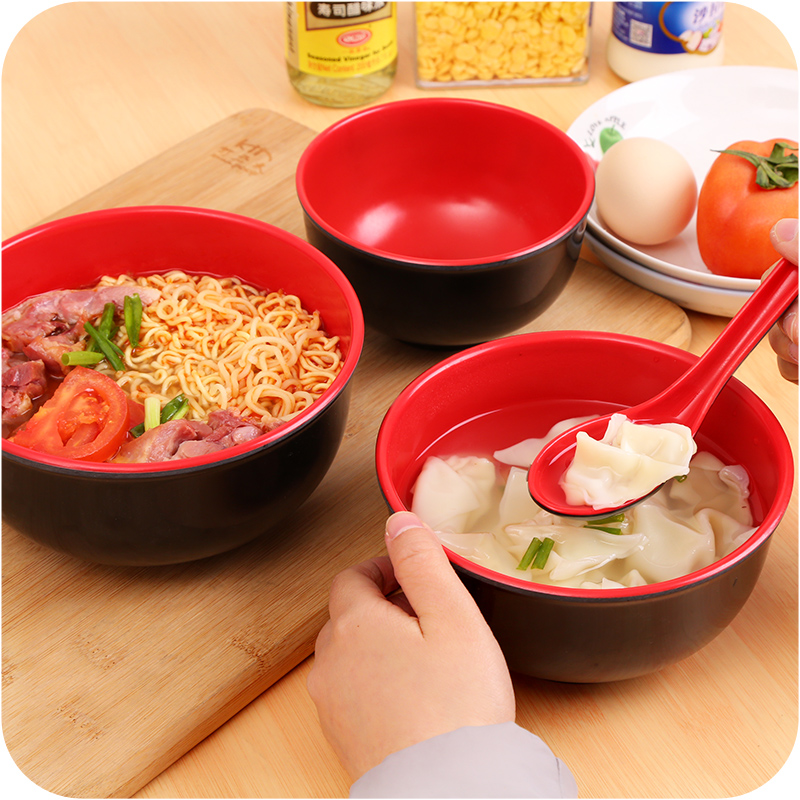 Anti Drop Rice Bowl Melamine Imitation Porcelain Tableware Soup Bowl Double Color Dishware Instant Noodles Bowl
