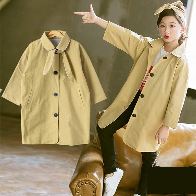2018 New Children Clothing Autumn Toddler Girls Windbreaker New Fashion Casual Girls Jackets Long Kids Clothes Outerwear & Coats 2018 children s autumn clothing solid color cartoon trench coats girls casual medium long outerwear
