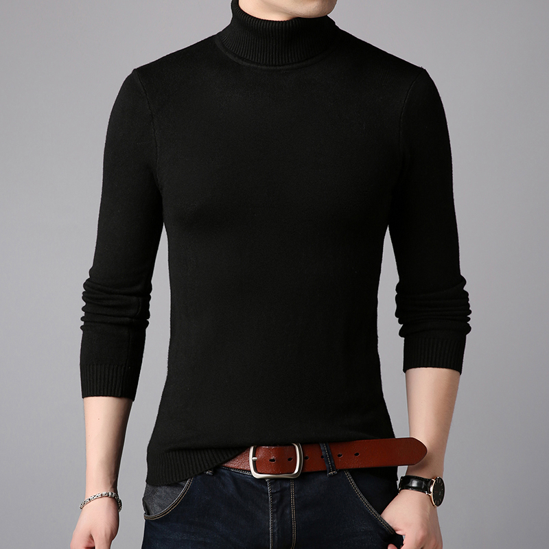 2019 Winter Thick Warm Cashmere Sweater Men Turtleneck Mens Sweaters Slim Fit Pullover Men Classic Wool Knitwear Pull Homme
