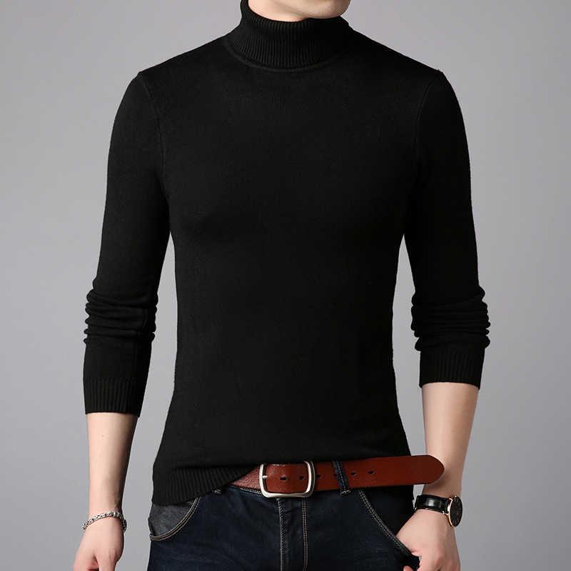 2020 겨울 두꺼운 따뜻한 캐시미어 스웨터 남자 터틀넥 남성용 스웨터 슬림 피트 풀오버 남자 클래식 울 니트웨어 풀 옴므
