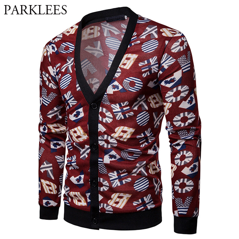 Mens Hipster V Neck Cardigan Sweater Ugly US EU Flag Letter Print Red Knit Sweaters Hip Hop Street Wear Pull Homme Sueter Hombre cardigan