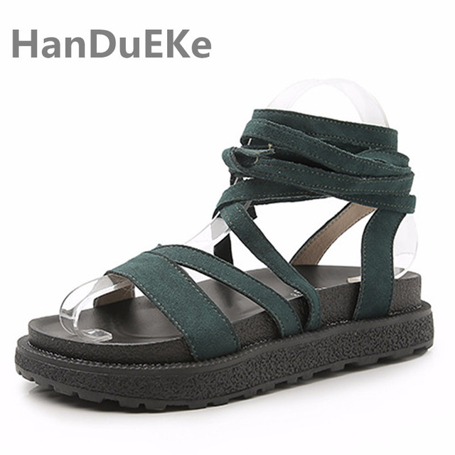 d601dfdc10 Popular Ankle Strap Women's Sandals Big Size 42 43 Summer Platform Shoes  Woman Fashion Gladiator Sandals For Ladies Flat Shoes