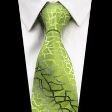GUSLESON Brand New Fashion Plaid Tie Gradient Green Necktie For Men Jacquard Woven Silk Tie Corbatas Hombre Suit For Wedding(China)