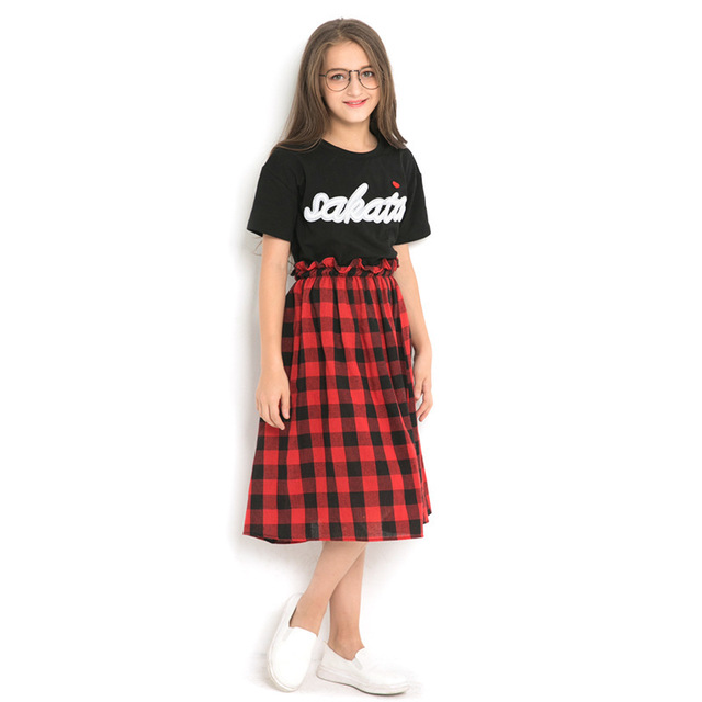 Kids Clothes Girls 8 to 12 Summer Plaid Skirts Suits 2 pieces Black Tops Teenage Girl Clothing