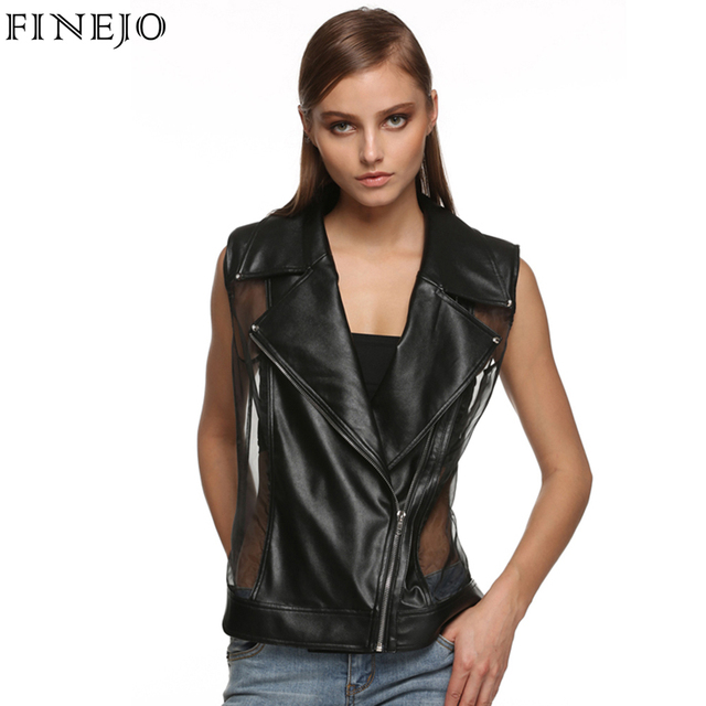 Finejo Preto Moda Feminina Turn Down Collar Zip-up Slim Fit Sexy Sheer Organza Patchwork Rebite Colete De Couro Falso plus size 3XL