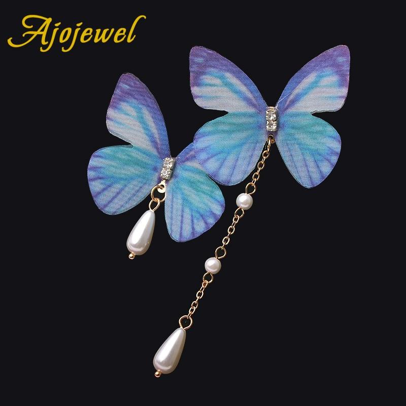 Ajojewel 2018 Summer Chiffon Butterfly Earrings Asymmetric Simulated Pearl Jewelry Fashion Accessories Beauty Gifts