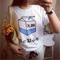 Moda Mujeres de la Camiseta Harajuku Verano 2016 Imprimir Casual Manga Corta Blanca Tops Loose Graphic Tee Shirt Femme Camiseta