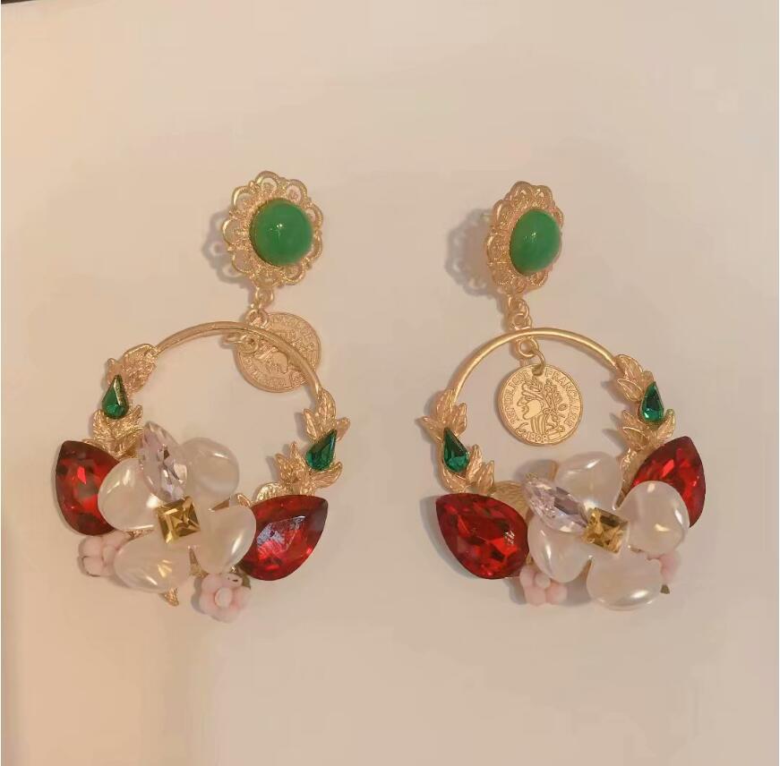 New Fashion Geometric Round Coin Earrings For Women Crystal flower Punk Gold Indian Long Drop Earrings Jewelry Brincos in Drop Earrings from Jewelry Accessories