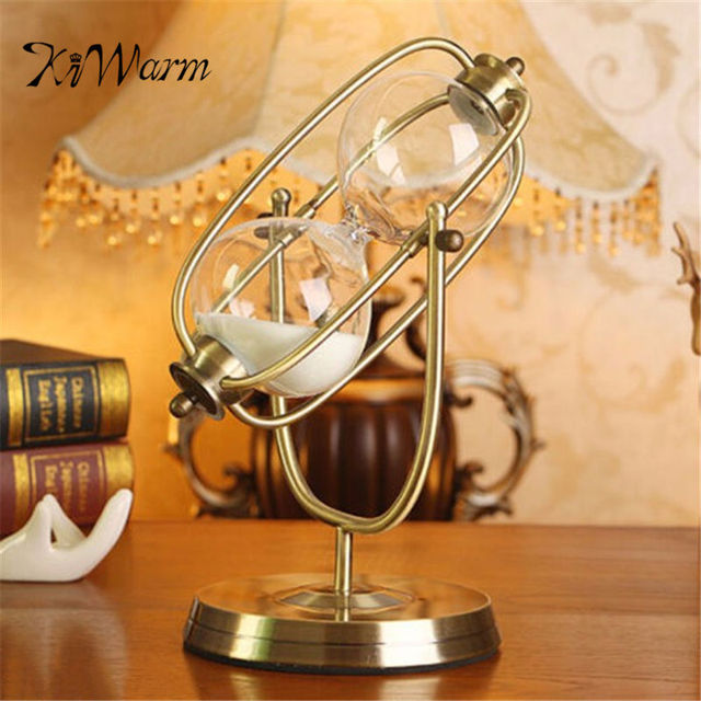 KiWarm 30 Minute Retro Rolating Sand Hourglass Sandglass Sand Timer Clock  Home Office Decor Gift