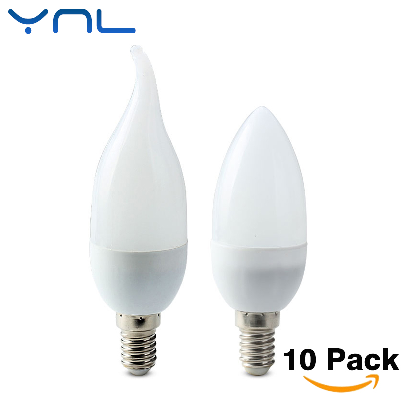 10Pcs/lot E14 LED Candle bulb AC 220V led light chandelier lamp Candle Bulbs 3W Lamps Decoration Light Warm/White Energy Saving led candle lights 2835smd candle bulb lamp high brightness 3w e27 e14 ac220v 110v cold white warm white led bulb lamp