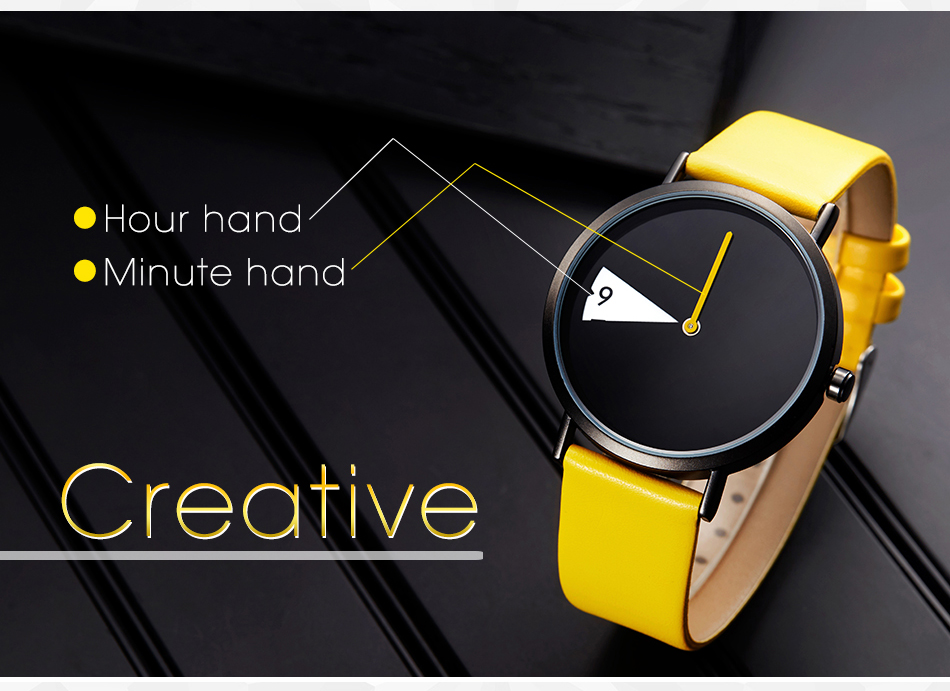 Sinobi Women Watch Creative Wristwatch Lady Clock Rotate Yellow Leather Band Wristwatches Clock Montres Femme Reloj Mujer 7