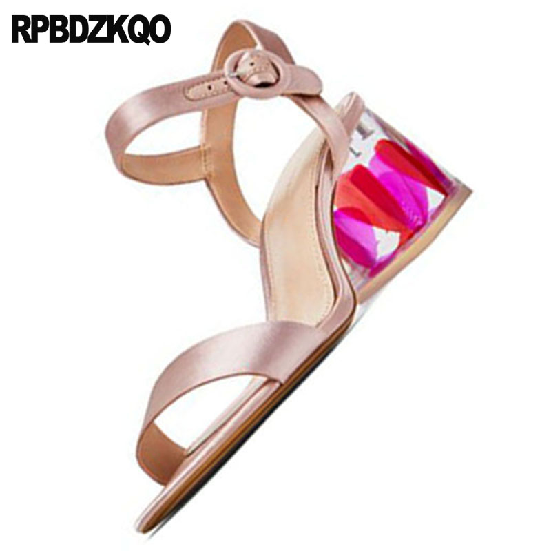 bf9334c47f Double Pumps Slingback 2018 Strap Satin Gold Women Perspex Wedding ...
