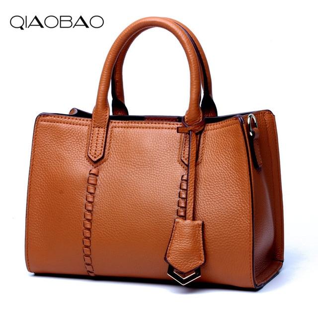 a4edc98e9ef5 QIAOBAO 100% Genuine Leather Women Bags Vintage Cowhide Handbags Female  Shoulder Bags Natural Skin Bag Imported Lady Tote Bag
