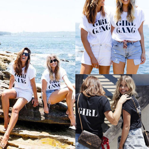 Thefound Women Summer GIRL GANG Print T-shirts Short Sleeve Tops Casual Cotton Tee