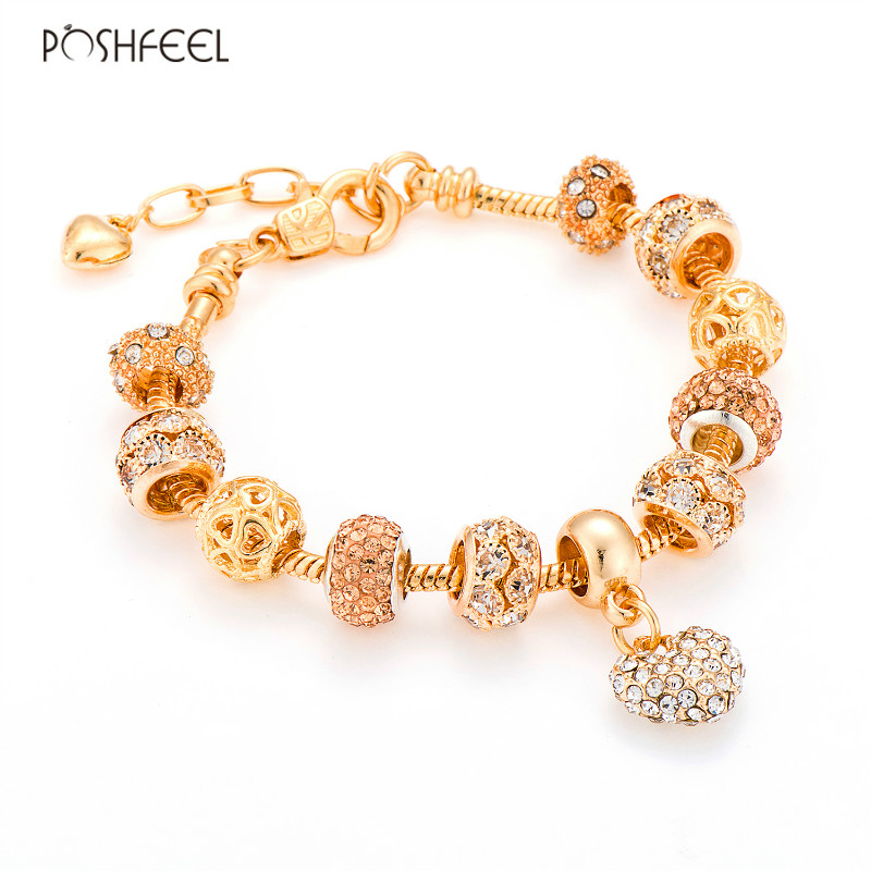 Poshfeel Luxury Crystal Heart Charm Bracelets & Bangles Gold Color Bracelets For Women Jewellery Pulseira Feminina Mbr170216