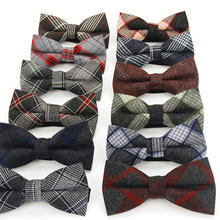 Plaid Cotton Bow Tie For Men Classic Shirts Bowtie For Business Wedding Bowknot Adult Mens Bowties Cravats Black Red Tie(China)