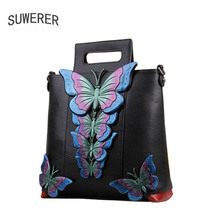 SUWERER women Genuine Leather bags for women 2018 new fashion luxury Handmade Leather art bag designer women leather handbags