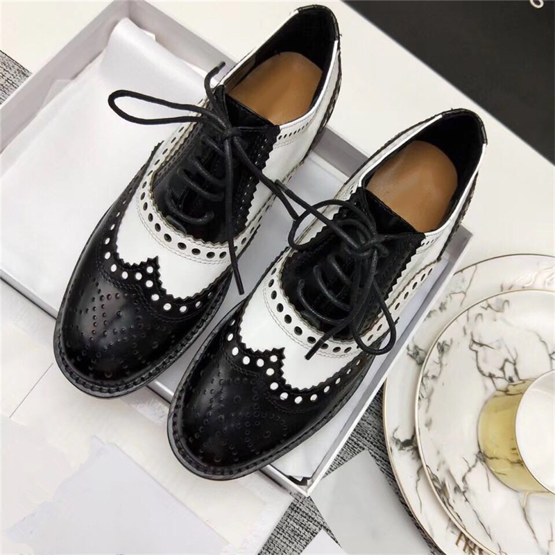 Mixed Color Womens Winged Oxford Lace Up Striped Platform Metallic Fashion Vintage Platform Bullock Flat Female Shoes Woman 40