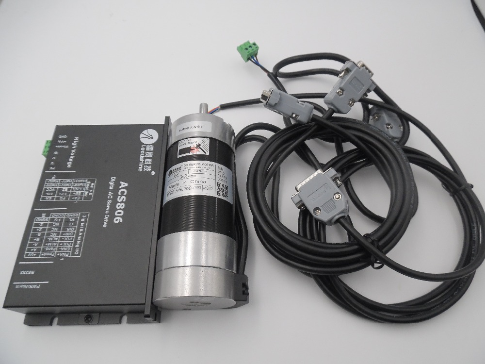Leadshine 180W DC Servo Motor Brushless 57BL180D-1000+ACS806 Brushless Controller Circular Flange 7A 0.57NM 3000RPM 20~80VDC New leadshine 180w brushless dc servo motor drive kit blm57180 1000 acs606 cable 6 7a 36vdc 0 57nm 3000rpm pulse control