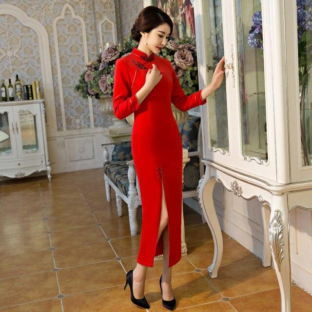 new style b8729 0c626 US $99.0 |Rosso delle Nuove Donne Dell'annata di Lana Rosso Lungo Cheongsam  Modo di Stile Cinese vestito Elegante Qipao Formato S M L XL XXL 3XL ...