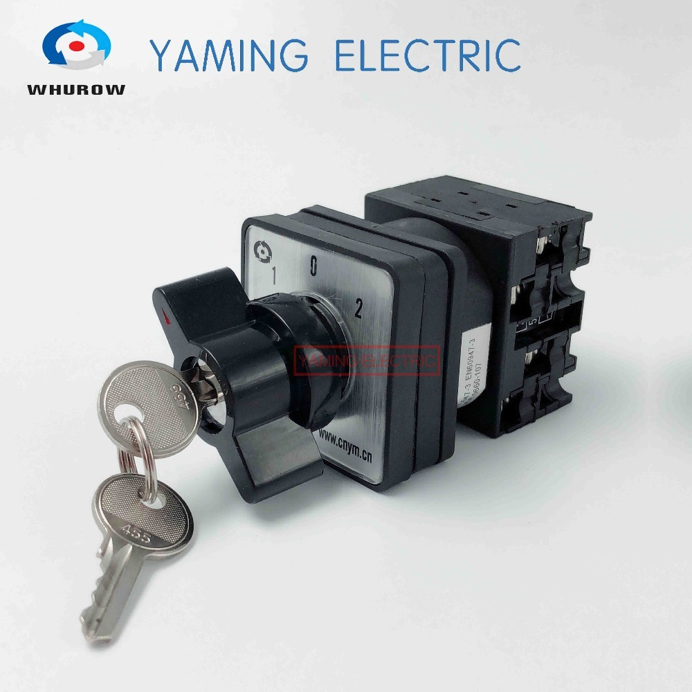 цена на Latching Key Switch 3 position 2 phases 20A 690V Changeover rotary main cam switch locking switches LW42-20/2S YMW42