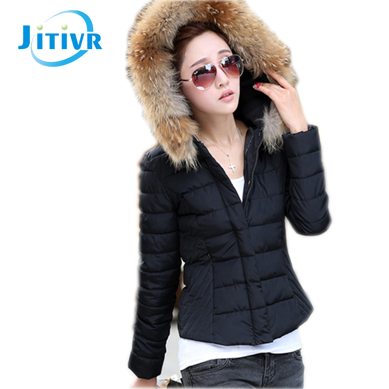 ФОТО Hot Jitivr Newest Women's Fashion Hooded Warm Fur Collar Slim Short Cotton Padded Coat Thin Casual Female Jacket Fall Winter