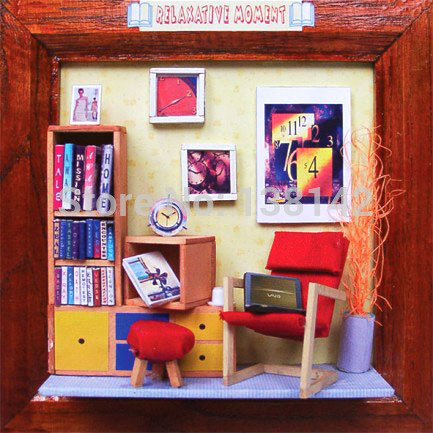 13613 Hongda diy estudo quarto Álbum de miniaturas para decoração de casa de bonecas em miniatura casa de boneca de madeira brinquedos meninas frete grátis