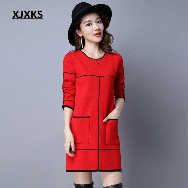 1fa1098e37 XJXKS Women s Sweater Dress 2018 New Fashion Casual Plus Size Long Pullover  Slim Long Sleeve Sweater Knitwear Woman