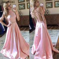 JaneVini Sexy Long Pink Prom Dresses Plus Size 2019 Halter Beads Crystal Backless Satin A Line Prom Party Gowns Vestidos De Gala