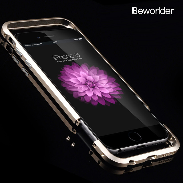 best service a3d12 b5ea0 US $4.72  Beworlder For iphone 6S Bumper iphone 6 Case Rapier Aluminum  Metal Bumper For Apple iphone 6 Case Shape Frame Metal Button Cover-in  Phone ...