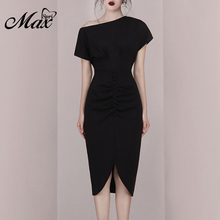 Max Spri 2019 New Fashion Women Asymmetrical Neckline Short Sleeves Split Front Elegant Office Lady Sheath Mid-Calf Dress Black