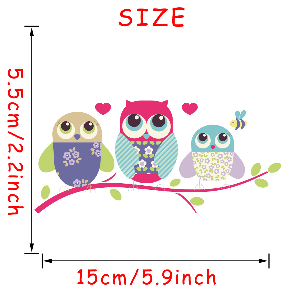 15*5.5 CM Car Styling Accessories Three Baby Owls Car Sticker Funny Art Vinyl Decal Reflective Waterproof Decorate Stickers