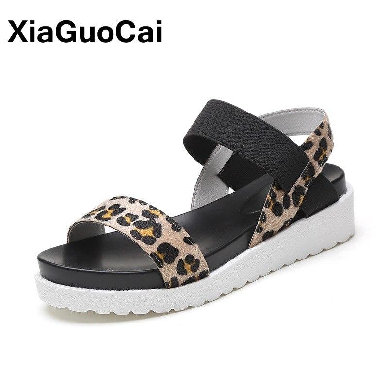 2018 Summer Women Sandals Fashion Leopard Peep Toe Gladiator Female Sandals Flat Platform Women's Shoes fashion tassels ornament leopard pattern flat shoes loafers shoes black leopard pair size 38